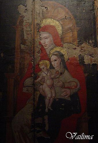 Santa ana maria y niño en taull