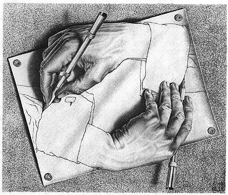 escher drawing hands M C Escher