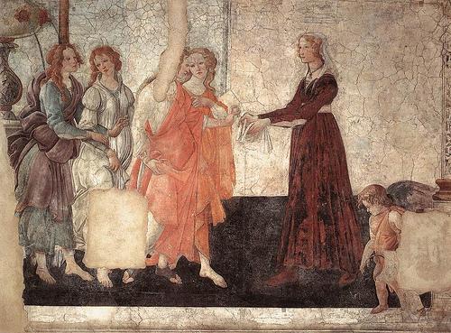 Venus y las musas regalando flores a Giovanna